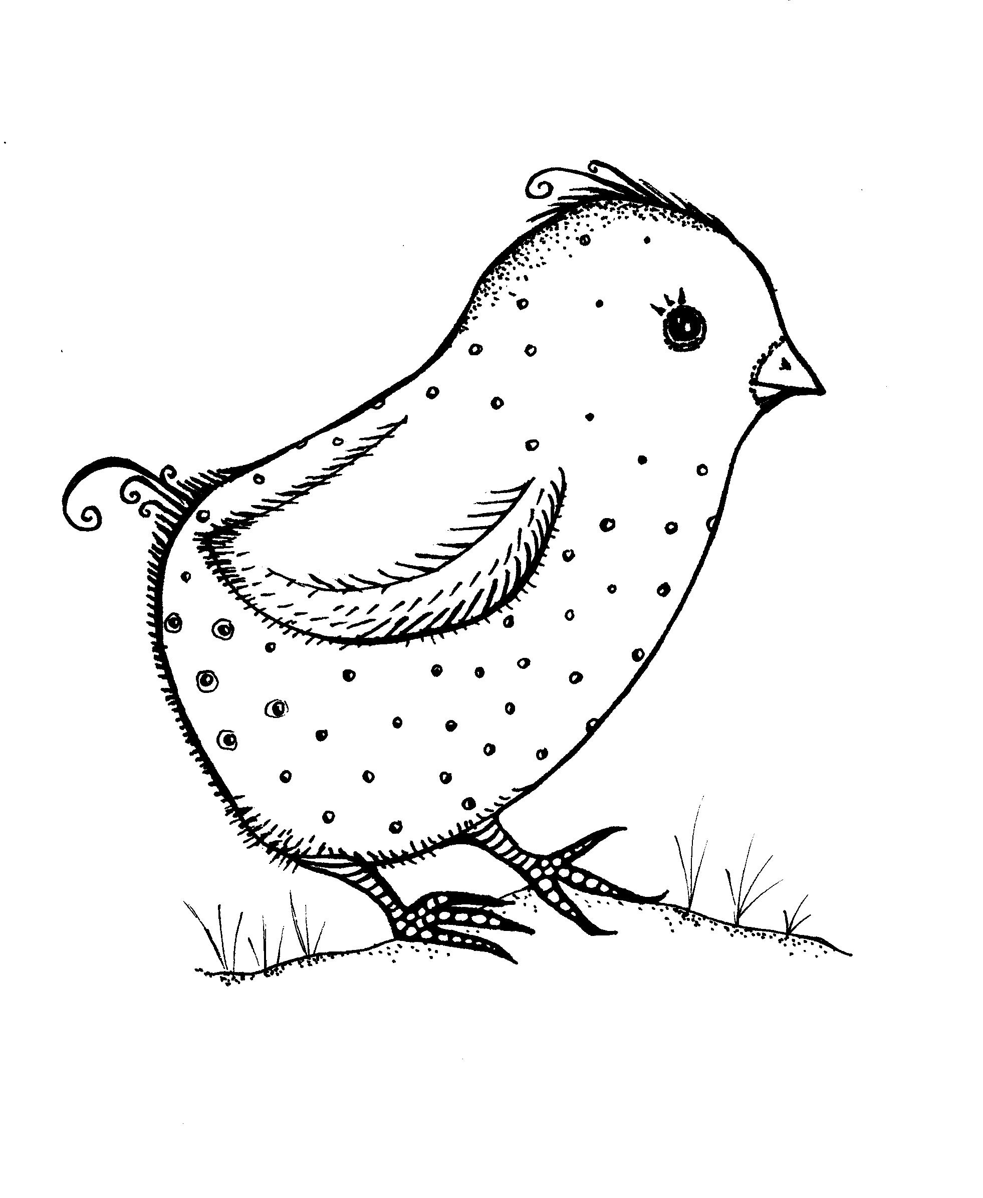 Charmaine McKissock: patterned chicken drawing