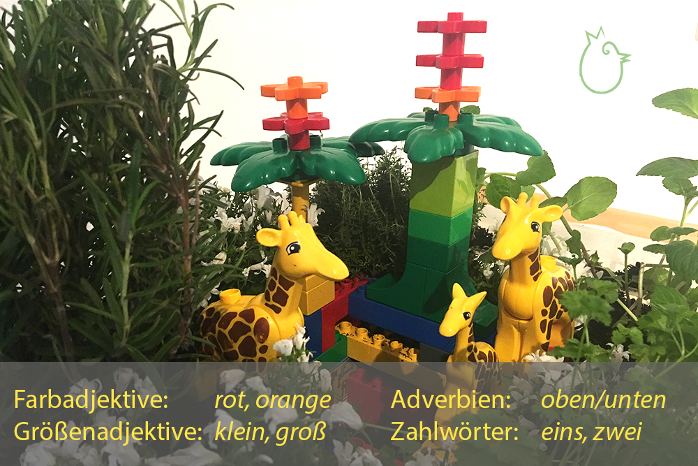 """Sprachimpuls mit der Sprachspinat """"Wupf"""" Wurm-Pflanzen-Kiste mit gebrauchten Legosteinen und Tierfiguren"""
