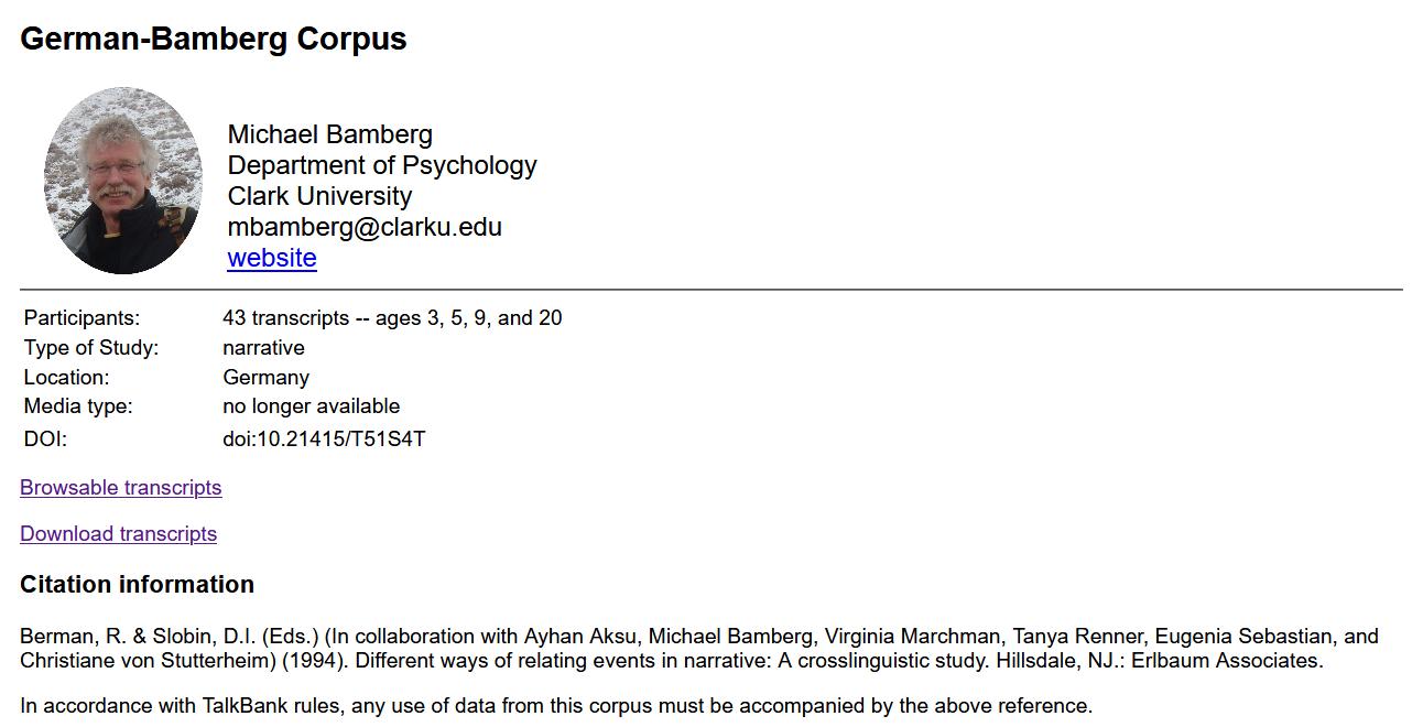 Info-Seite für das Frog-Story-Korpus