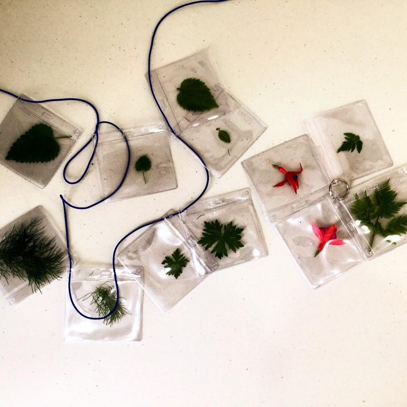 Kräuter-Memo-Spiel - auch als Kette und mit Kräutern aus dem Sprachspinat-Garten und recycelten Namensanhängern