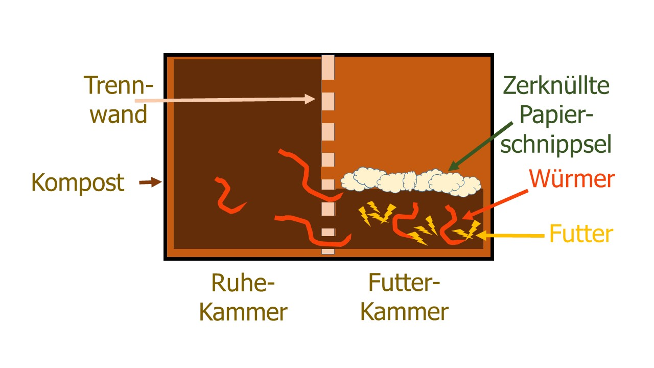 Horizontale Zwei-Kammer-Wurmkompostkiste